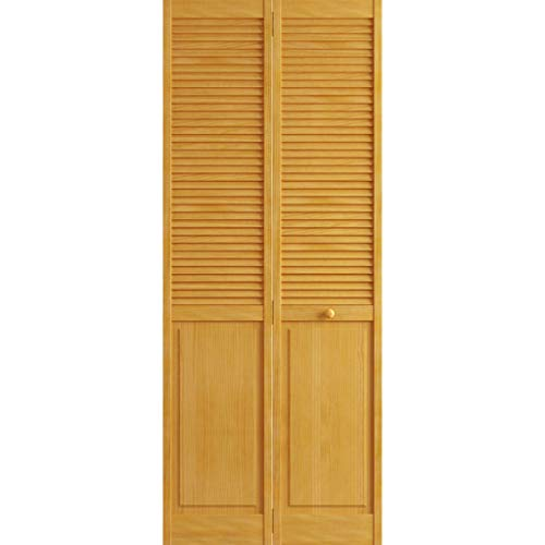 Kimberly Bay Traditional Louver Panel Golden Oak Solid Core Wood Bi-fold Door (80x36)