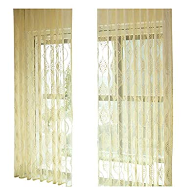 Countryside Pastoral Jacquard Style Floral Sheer Curtains Rod Pocket Top Window Tulle Panels Draperies for Living Room Bedroom & Balcony