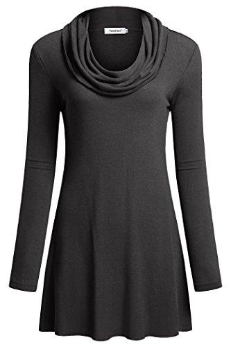 fec35ad877e Fasterlow Women Long Sleeve Fall Tunics Cowl Neck Top Flowy Casual Blouse  Shirts