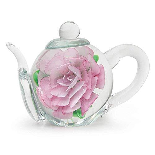 (Handmade Glass Teapot - Pink Rose - 3.5