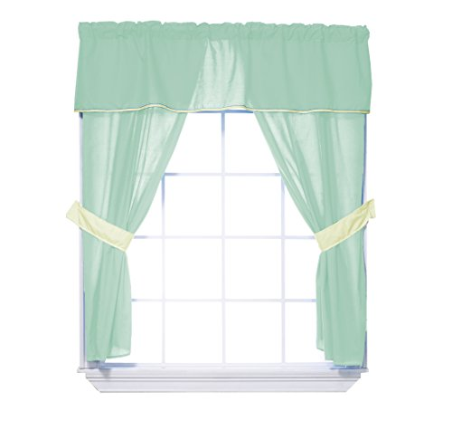 Baby Doll Bedding Solid Two Tone  5-Piece Window Valance Cur