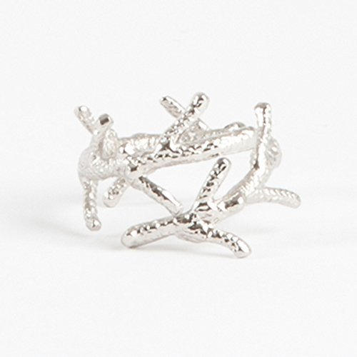 Elegant Nautical Design Silver Napkin Rings, Set of 4 (Coral branch) Coral Branch Napkin Rings