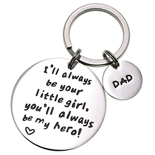 LParkin I'll Always Be Your Little Girl.You Will Always Be My Hero Keychain, Stainless Steel (White) (The Best Christmas Gift Ever)