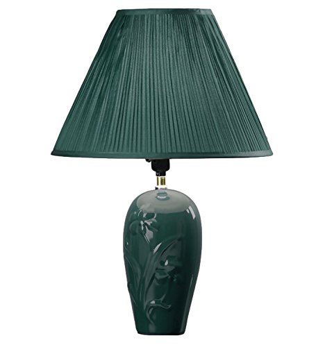 - Hongville Floral Embossed Ceramic Body Pleated Pattern Shade Table Lamp (Green)