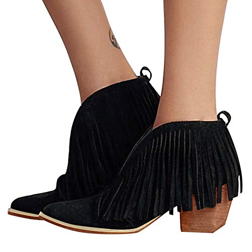 Tassel Ankle BootieBaigoods Women Ladies Shoes Fashion Ankle Solid Fringe Bootie Short Boots