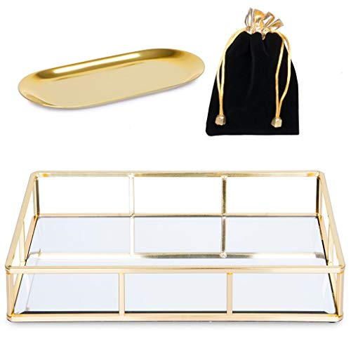Verzille Large Gold Mirror Tray: Ornate Decorative Tray - Jewelry, Makeup & Perfume Organizer - Bathroom Vanity, Bedroom Dresser, Bar or Coffee Table Glass Display Tray with Small Jewelry Tray & Bag (Perfume Mirror Tray For)
