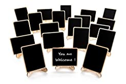 20 Pack Wood Mini Chalkboards Signs with...
