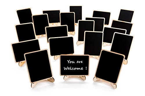Halloween Themed Name Tags (20 Pack Wood Mini Chalkboards Signs with Support Easels, Place Cards, Small Rectangle Chalkboards Blackboard for Weddings, Birthday Parties, Message Board Signs and Event)