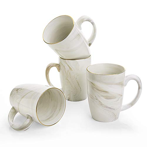 Hoomeet 16 oz Marble Ceramic Coffee Mugs, Set of 4 (Cream)