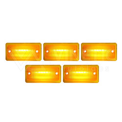Optix P.RA Compatible with Freightliner Columbia Amber LED Flush Mount Cab Marker Lights - Front 5pcs ()