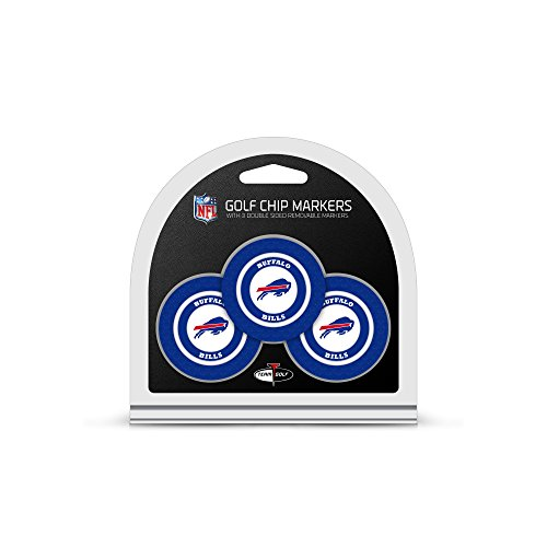 Team Golf NFL Buffalo Bills Golf Chip Ball Markers (3 Count), Poker Chip Size with Pop Out Smaller Double-Sided Enamel Markers