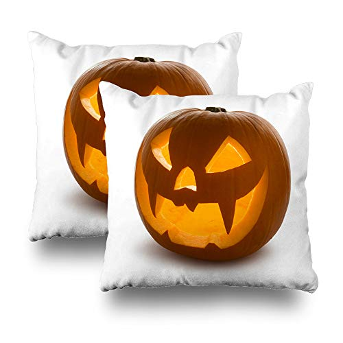 Kutita Set of 2 Decorative Pillow Covers 18 x 18 inch Throw Pillow Covers, Halloween Pumpkin Scary Jack O 39 Lantern Isolated On White Pattern Double-Sided Decorative Home Decor Pillowcase -