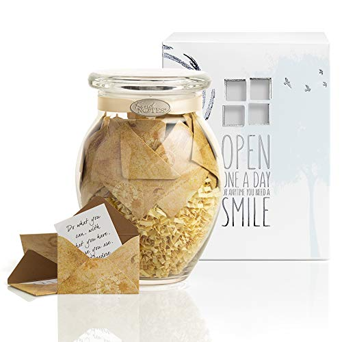 KindNotes Glass Keepsake Gift Jar with Love Messages (for Couples) - Vintage Letters