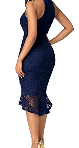 Sottile Vestito Della Lunghezza Sexy Bodycon Metà Coolred donne Sirena Blu Elegante Pizzo Del gAfwq