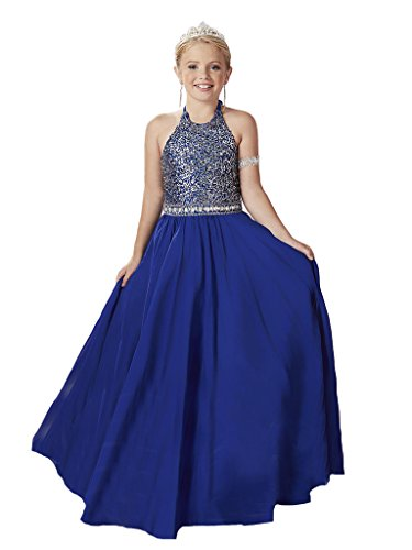 GreenBloom Little Girls' Halter Crystals A-Line Matte Satin Paillette Sequins Lace Up Slim-Line Pageant Ball Gown Dress Blue 8 ()