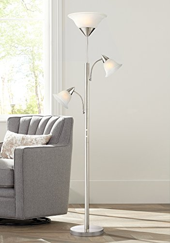 Jordan Brushed Nickel Tree Torchiere 3 Light Floor Lamp