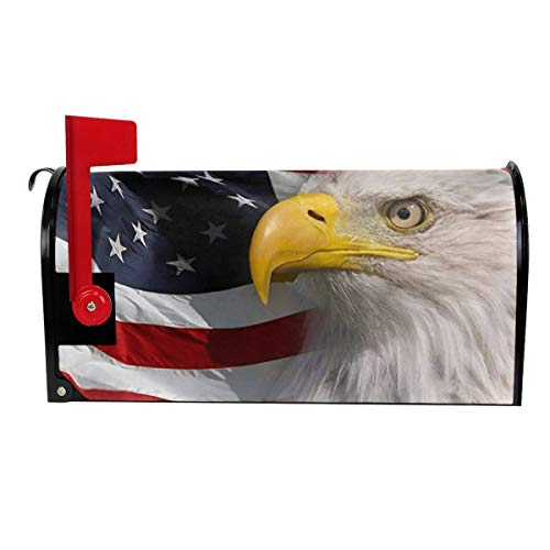 TUHUO Large Mailbox Covers American Flag and Bald Eagle Magnetic Double Side Wraps Post Decorative Letter Box for Garden Classroom Office Outdoor Patio Lawn 21x18 in Eagle Wall Mount Mailbox