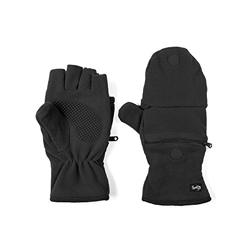 Multi Mitt Fingerless Gloves With Adjustable Top & Cell Phone Pocket (Black)