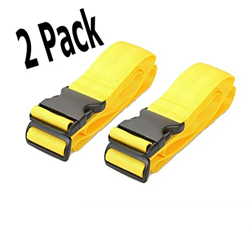 - 2 Pack Luggage Straps Set Suitcase Belts Neon Yellow Luggage Tags ID TSA Approved Luggage Strap Carry On