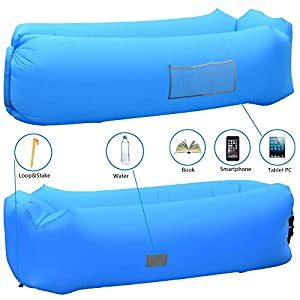 Xingaosheng Inflatable Lounger Pouch Couch Lazy Sleeping Air Bag Sofa Ideal Gift Air Lounger for Travelling, Camping Picnics & Festival (Blue)