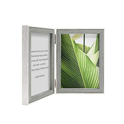 Afuly 5x7 Double Picture Frame Grey Wooden Hinged Photo Frames with White Thin Liner Vertically for Table Desk Top ()