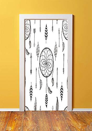 Arrow 3D Door Sticker Wall Decals Mural Wallpaper,Ethnic Anthique Authentic Tribal Dreamcatchers Feathers and Arrows Design Western Decorative,DIY Art Home Decor Poster Decoration 30.3x78.15860,Black