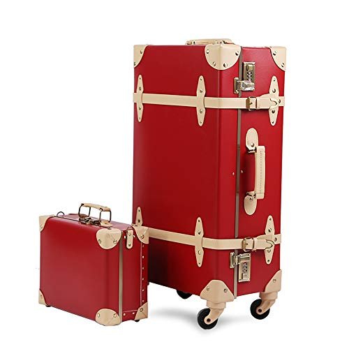 - Travel Vintage Luggage Sets Cute Trolley Suitcases Set Lightweight Trunk Retro Style for Women Hepburn Red 26