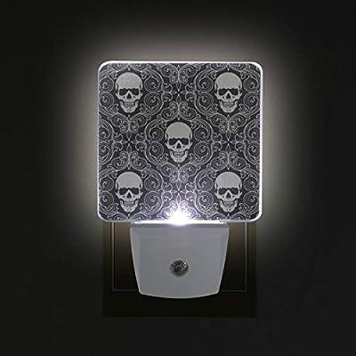 Night Light Skull Pattern Led Light Lamp for Hallway, Kitchen, Bathroom, Bedroom, Stairs, DaylightWhite, Bedroom, Compact