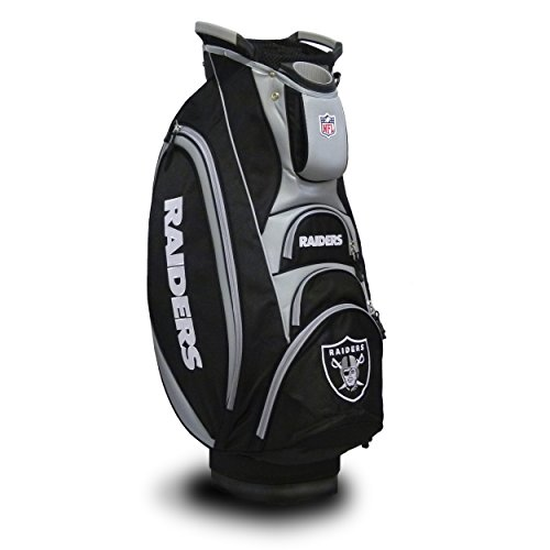 Team Golf NFL Oakland Raiders Victory Golf Cart Bag, 10-way Top with Integrated Dual Handle & External Putter Well, Cooler Pocket, Padded Strap, Umbrella Holder & Removable Rain Hood (Oakland Raiders Cart Golf Bag)