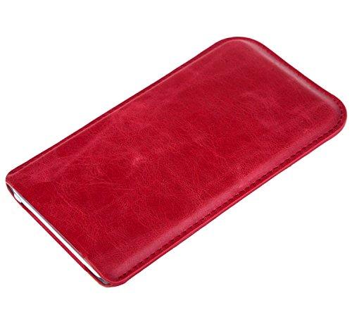 Slim Red Handytasche für Apple Iphone 5s Etui Smartphone Tasche Handy Case Schutz Cover Schutztasche Schutzhülle Hülle Handyhülle in Rot