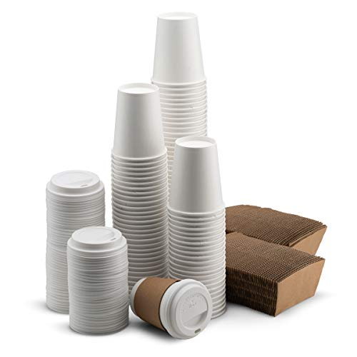 NYHI 100-Pack 12 oz White Paper Disposable Cups With Lids And Sleeves- Hot/Cold Beverage Drinking Cup for Water, Juice, Coffee or Tea - Ideal for Water Coolers, Party, or Coffee On the Go'