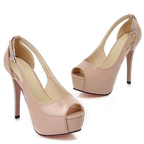 COOLCEPT Women Sexy Platform High Heel Pumps Peep Toe Patent Stiletto Shoes Ivory rblZRVE0