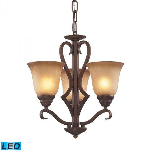 Elk Lighting 9326/3-LED 3 Light Mocha and Antique Amber Glass-LED, 800 (2400 Lumens Total) with Full Chandelier ()
