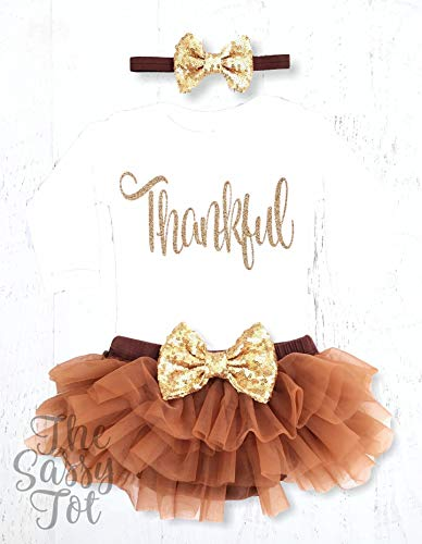 Baby Girls Thankful Onesie, Thanksgiving Outfit