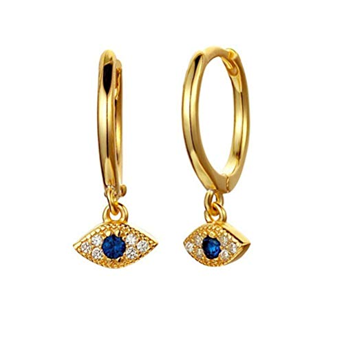 (Huggie Hoop Earrings, 14k Gold Plated Sterling Silver Small Blue CZ Evil Eye Earrings for Women or Girl (Gold))