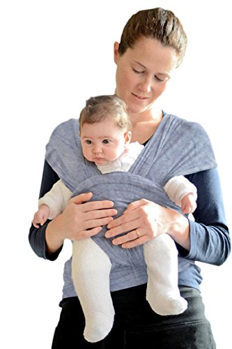 Ellaroo Wrap (Baby Sling Carrier, Natural Cotton Nursing Baby Wrap Suitable for Newborns to 35 lbs Breastfeeding Sling Baby Holder Soft Safe and Comfortable Excellent Baby Shower Gift Gray XL)