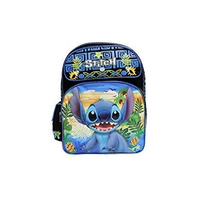 Disney Lilo & Stitch Black & Blue Large 16 inch School Backpack-Stitch | Kids' Backpacks