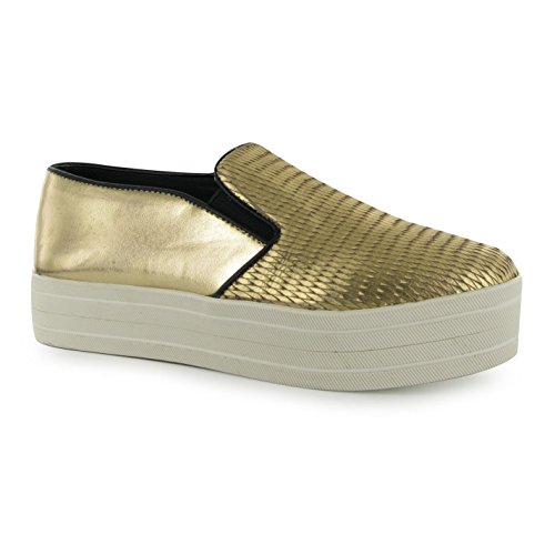 Steve Madden buhba Fashion Turnschuhe Damen Gold Casual Fashion Sneakers Schuhe