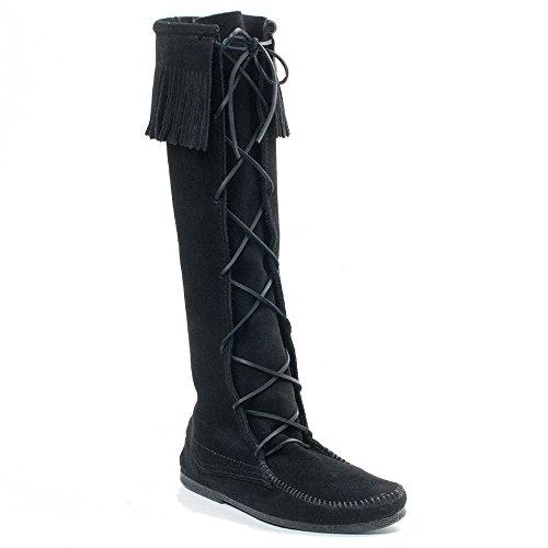Minnetonka Men's Front Lace Knee High Boot,Black,11 M US