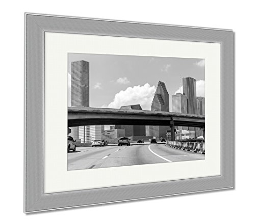 Ashley Framed Prints Houston Skyline From Gulf Freeway I 45 Interstate Traffic At Texas Us USA, Wall Art Home Decoration, Black/White, 34x40 (frame size), Silver Frame, - Texas Cities The On Gulf