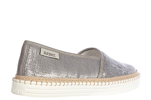 Hogan Damen Leder Slip On Slipper Sneakers paillettes rebel Silber