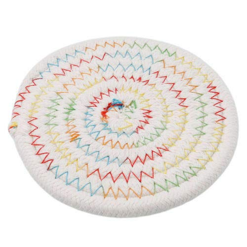 Bazzano Novel Cotton Thread Weave Insulation Placemats Dining Pads Table Place Cushion Q (Color - Colorful+White)