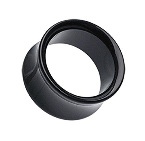 Double Flared Ear Tunnel (Basic Acrylic Double Flared Ear Gauge Freedom Fashion Tunnel Plug (Sold by Pair) (0 GA, Black))