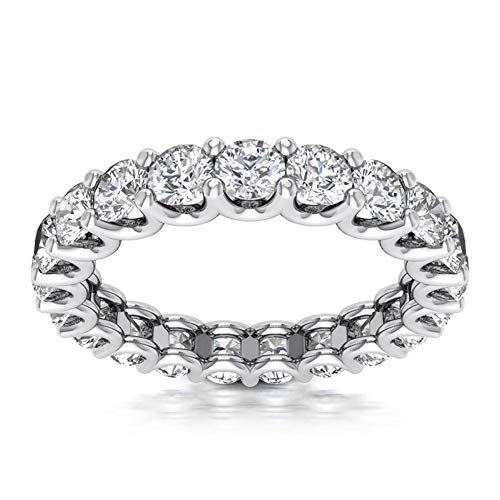 3.00 ct Ladies Round Cut Diamond Eternity Wedding Band Ring in 14 kt White Gold In Size 6