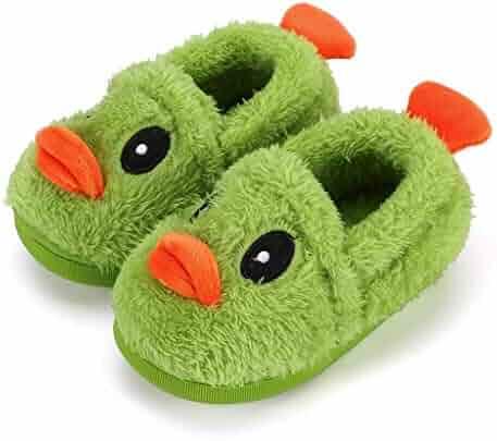 Kids Winter Warm Fur Lined Soft Home Slippers Children Animals Cartoon Slippers