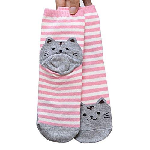Doinshop Elegant 3D Cat Striped Tube Socks Women Footprints Cotton Ankle Socks - Cat Elegant