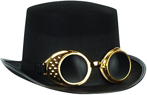 Loftus International Halloween Steampunk Goggles & Adult Top Hat Black Gold One Size Novelty Item -