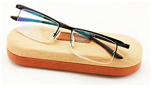 Featherweight Half Rim Reading Glasses With Anti-reflective AR Coating and Anti-Slip nose pad. (Black, - Featherweight Glasses