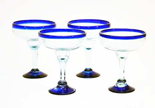 Set of 4, Handmade Mexican Blue Rimmed Margarita Glasses, Recycled Glass-16 Oz by Laredo Import