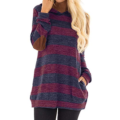Wintialy Women's Casual Long Sleeve Striped Hoodie Top